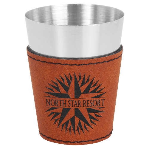 2 oz. Rawhide Leatherette Wrapped Stainless Steel Shot Glass