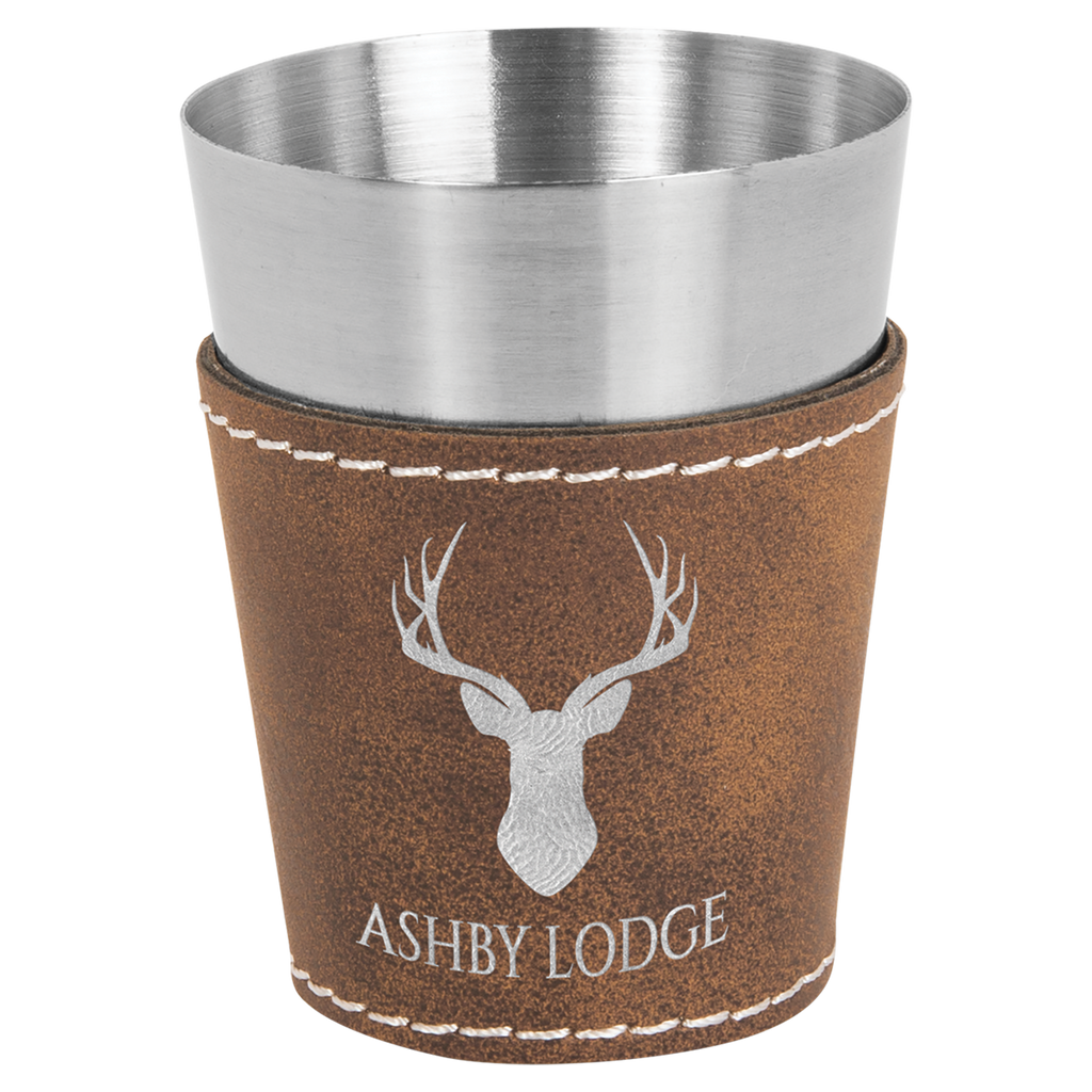 2 oz Rustic and Silver Leatherette Wrapped Stainless Steel Shot Glass