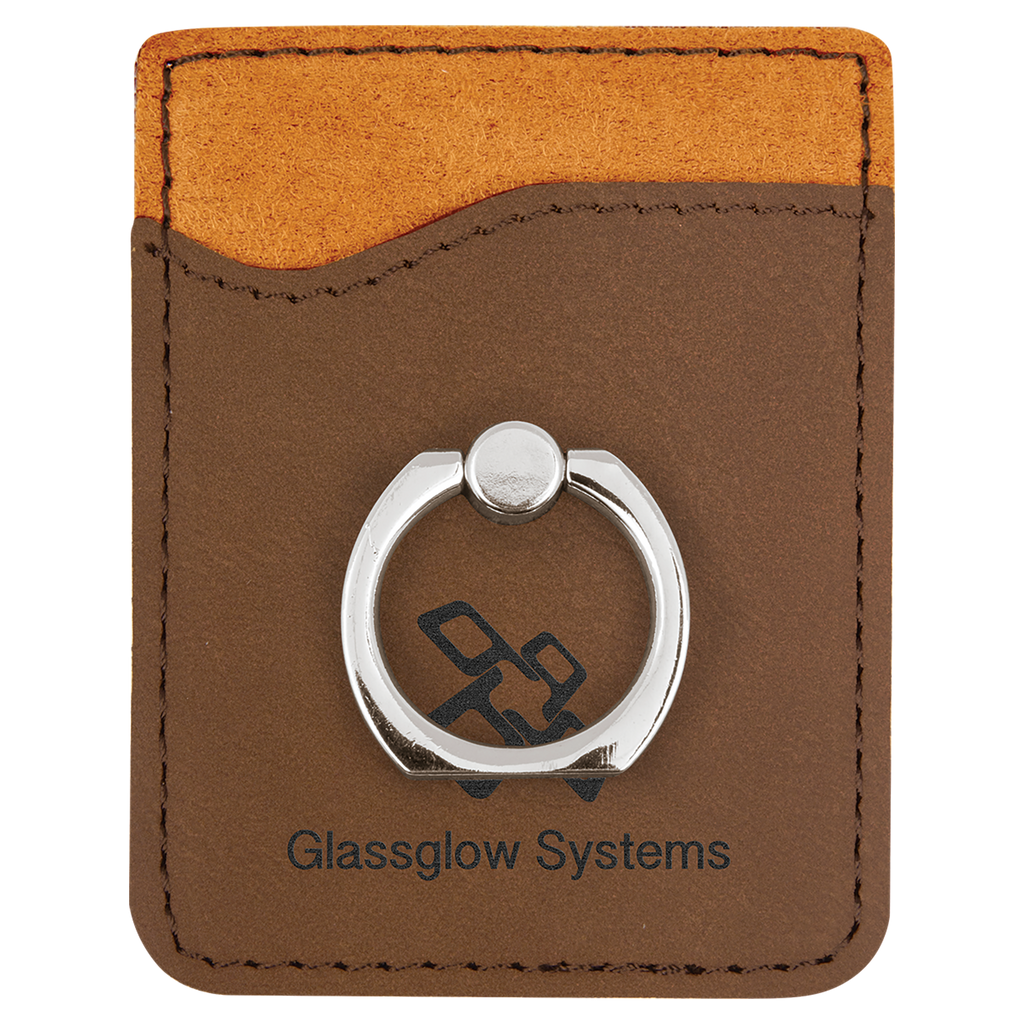 Dark Brown Leatherette Cell Phone Wallet with Silver Ring