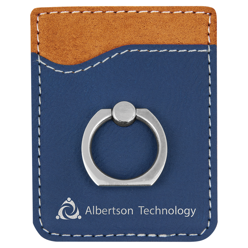 Blue & Silver Leatherette Cell Phone Wallet with Silver Ring