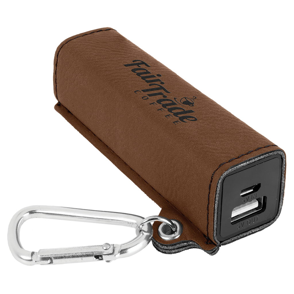 Dark Brown Leatherette 200 mAh Power Bank with USB Cord