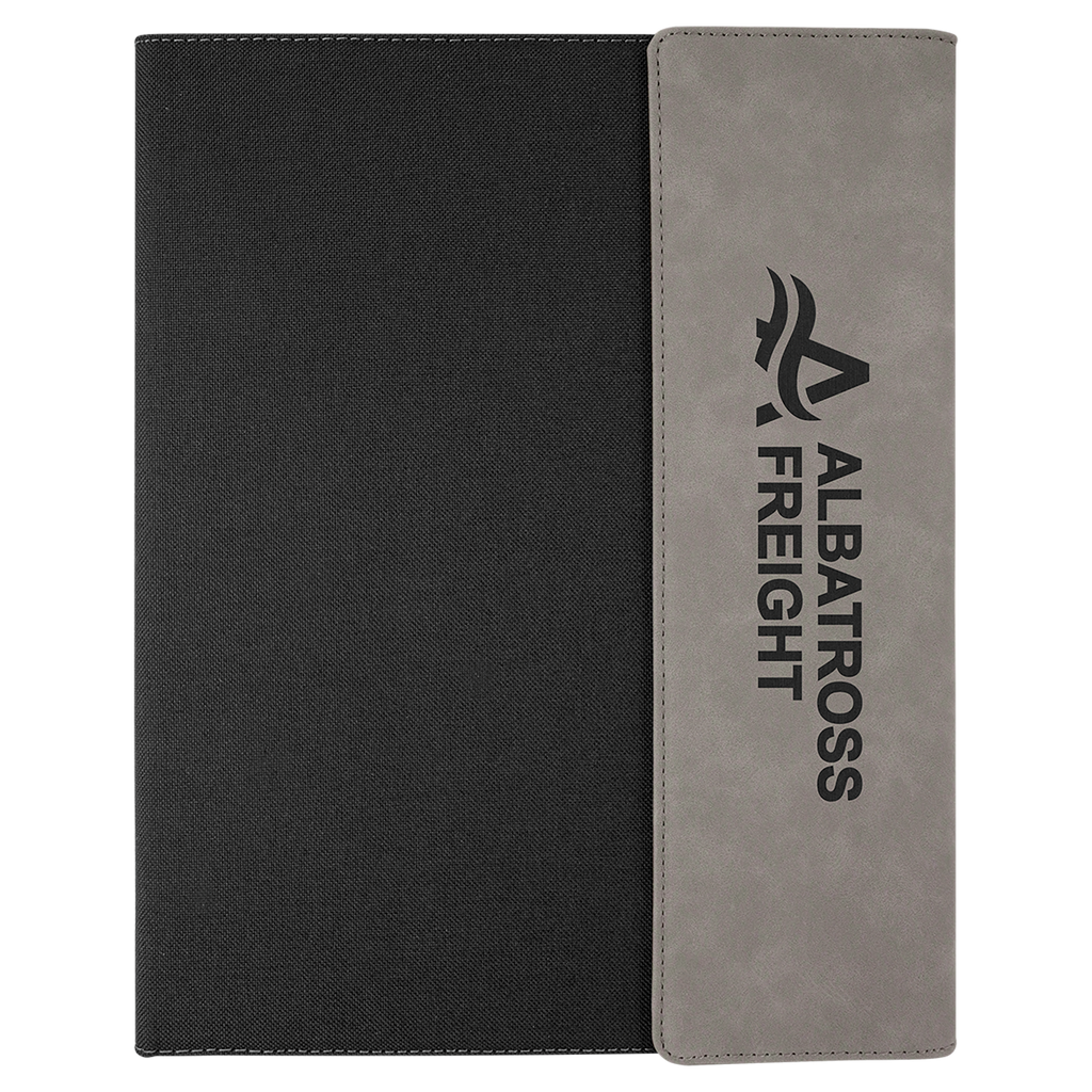 Gray with Black Leatherette Canvas Portfolio