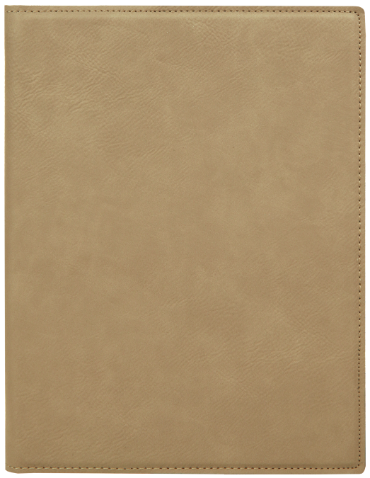 Small Light Brown Leatherette Portfolio with Notepad