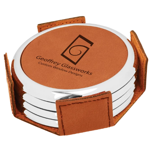 Round Rawhide Leatherette with Silver Edge 4-Coaster Set