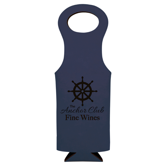 Blue Leatherette Wine Bag
