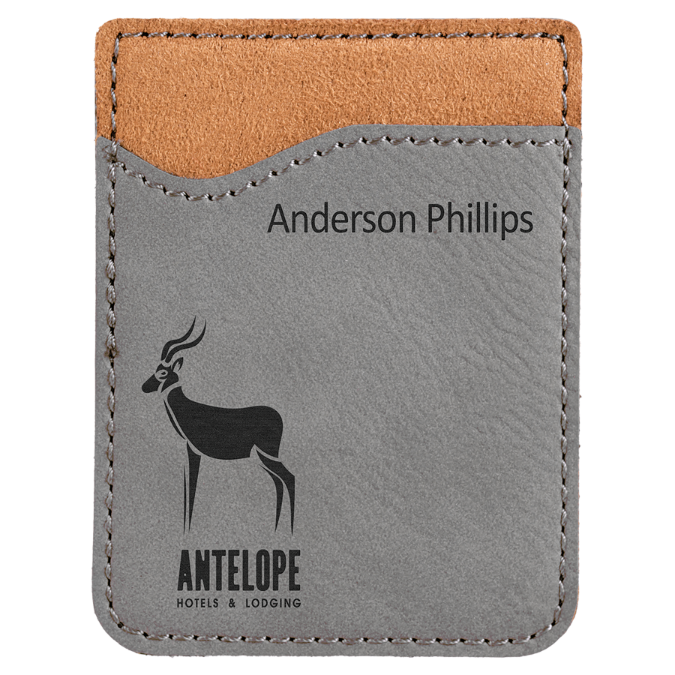 Gray Leatherette Cell Phone Wallet