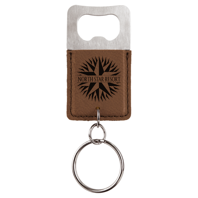 Dark Brown Leatherette Rectangle Bottle Opener Keychain