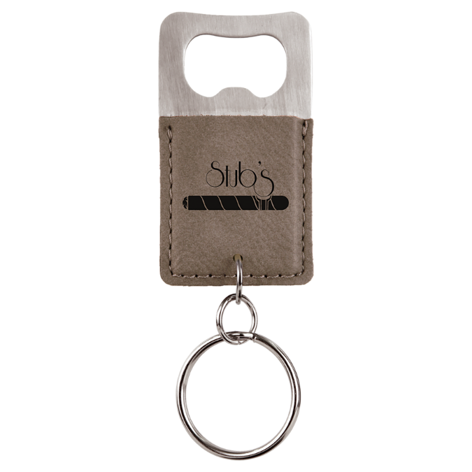 Gray Leatherette Rectangle Bottle Opener Keychain