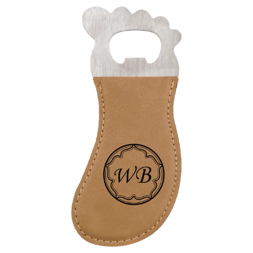 Light Brown Leatherette Foot Shaped Magnetic Bottle Opener