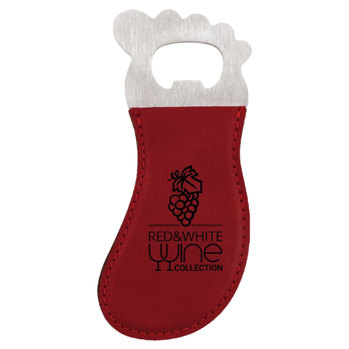 Rose Leatherette Foot Shaped Magnetic Bottle Opener