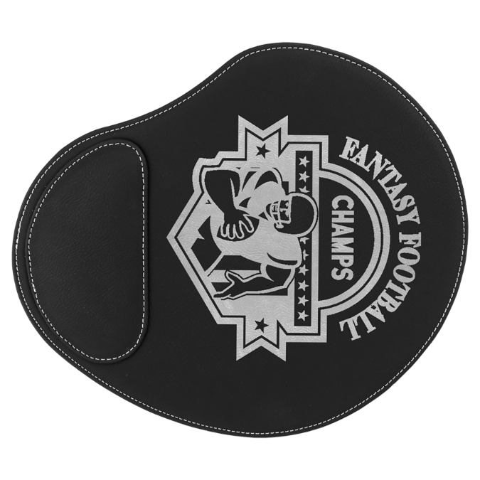 Black & Silver Leatherette Mouse Pad