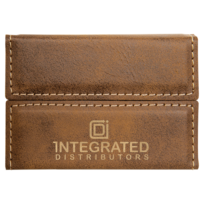 Rustic & Gold Leatherette Hard Card Case with Magnetic Closure
