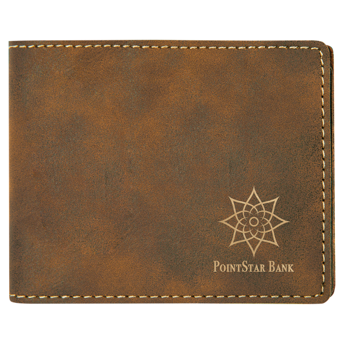 Rustic & Gold Leatherette Bifold Wallet