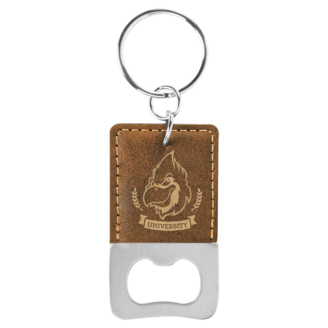 Rustic & Gold Leatherette Rectangle Bottle Opener Keychain