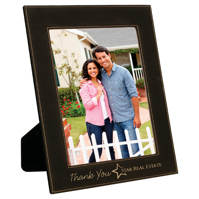 "8"" x 10"" Black & Gold Leatherette Photo Frame"