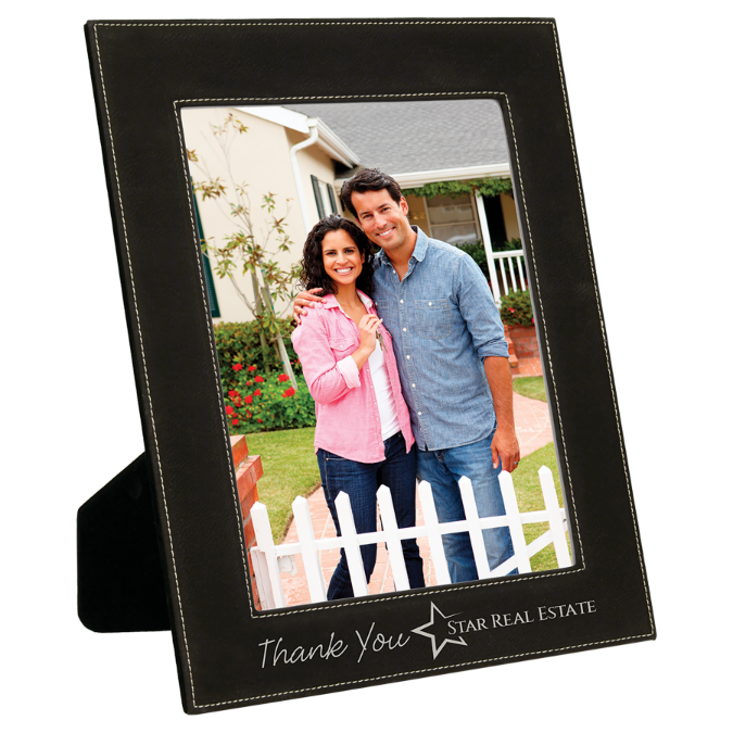 "8"" x 10"" Black & Silver Leatherette Photo Frame"