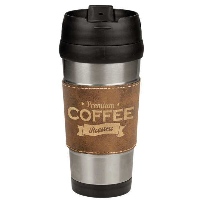 16 oz. Stainless Steel Travel Mug with Rustic & Gold Leatherette Grip