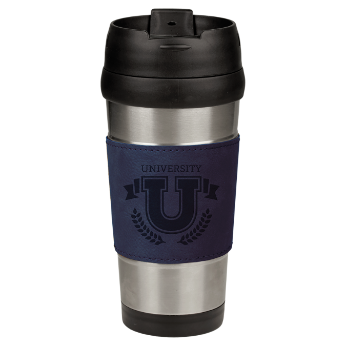 16 oz. Stainless Steel Travel Mug with Blue Leatherette Grip