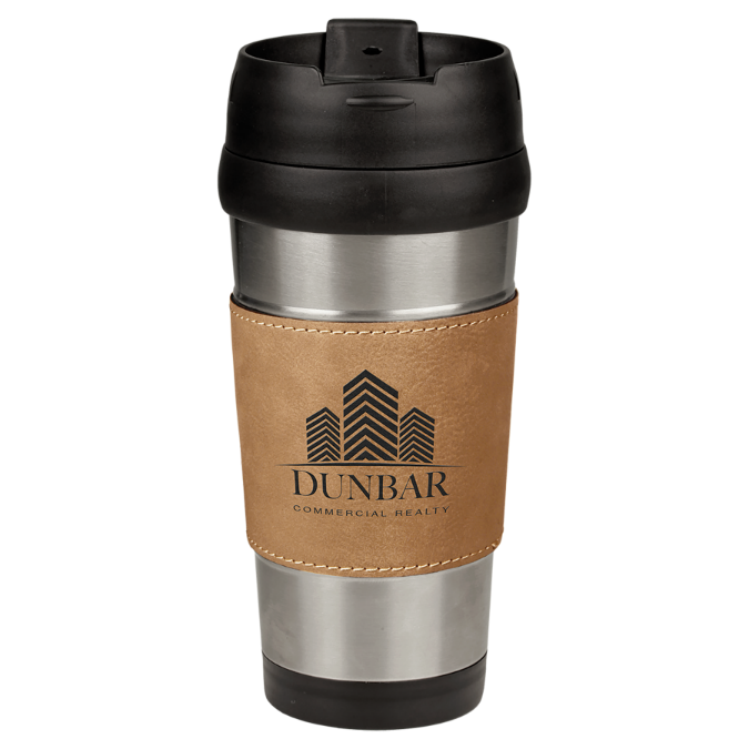 16 oz. Stainless Steel Travel Mug with Light Brown Leatherette Grip