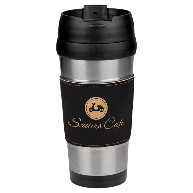 16 oz. Stainless Steel Travel Mug with Black & Gold Leatherette Grip