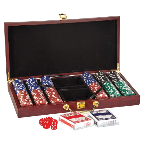 Rosewood Finish Poker Gift Set with 300 Chips, 2 Decks of Cards & 5 Dice