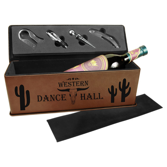 Dark Brown Leatherette Single Wine Box with 4 Tools