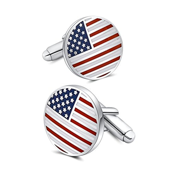 American Flag Cufflinks Platinum Plated Enamel USA