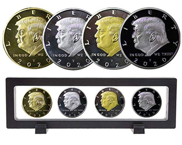 2020 Donald Trump Gold Coin Set with Display Case, Gold & Silver Plated Collectible