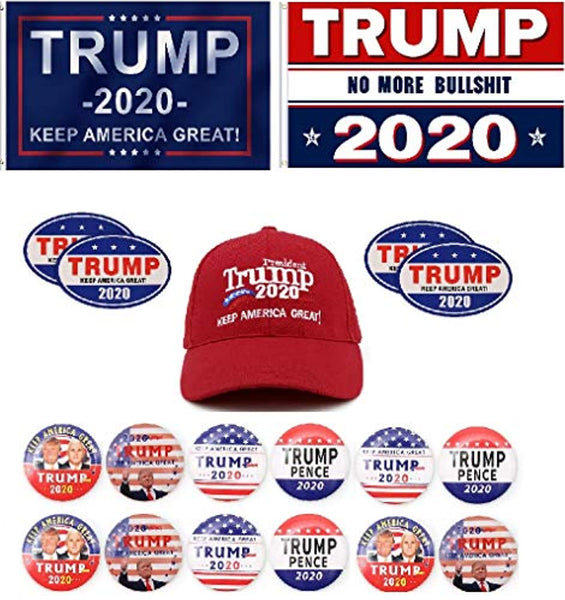 Bundle of 19 Trump 2020 Items: 2  Flags, 12 Buttons, 1 Hat and 4 Stickers Best Value Package
