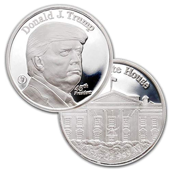 1 Troy Oz .999 Pure Silver Medal 45th President Donald Trump and The White House