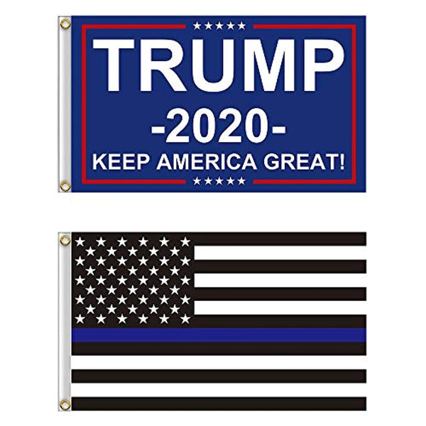 2 Flag Set - Donald Trump 2020 Flag and Thin Blue Line Flag  3x5 Ft