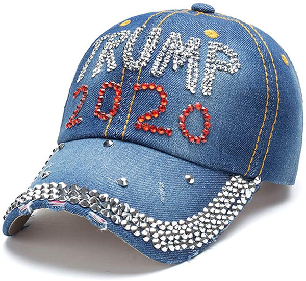 Trump 2020 MAGA Keep America Great Bling Rhinestone Hat