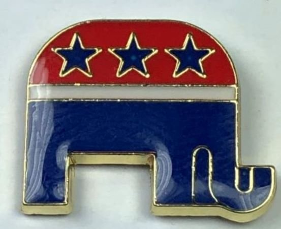 Republican GOP Elephant Mascot Two-Tone Pin gold plated