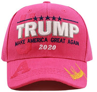 Pink 45th President Trump Hat/Cap, Keep Make America Great 2020, Embroidered