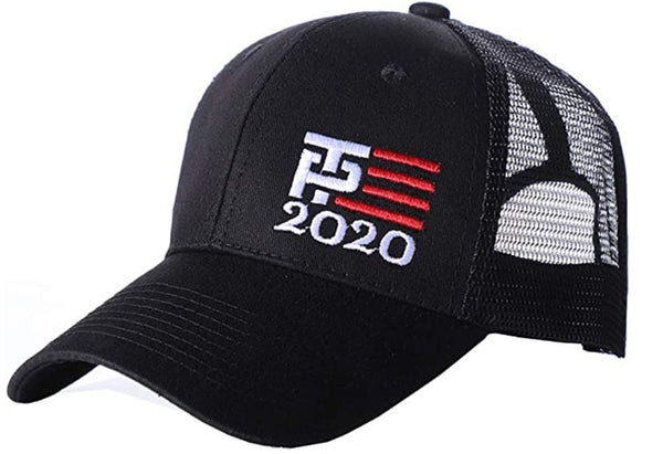 2020 Trump Pence TP Flag Trucker Hat Embroidered Black & White