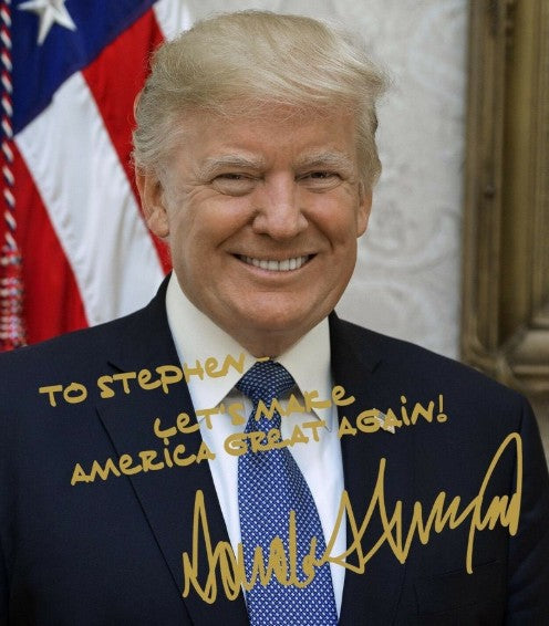 Customized President Donald Trump Gold Autographed 8x10 Photo