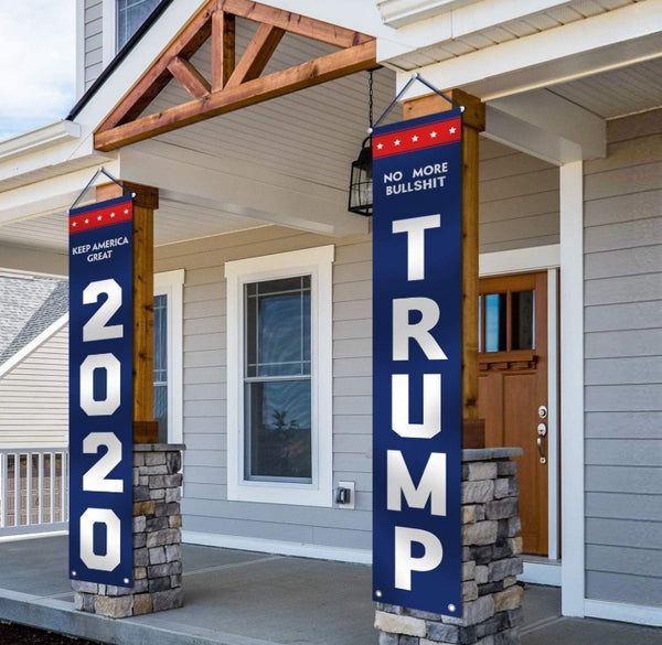 Trump 2020 Flag - No More BS & Keep America Great Vertical Front Porch Flags - 2 Pack