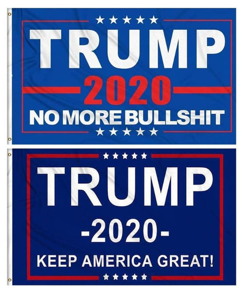 Set of 2 Trump Flags - 2020 KAG & No More Bullshit  3x5