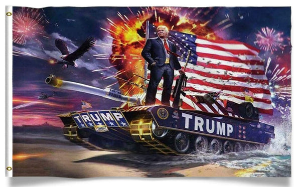 President Trump Riding Tank  Flag 3 x 5'