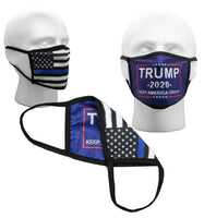 Blue Trump 2020 Reversible 2 sided KAG &  Thin Blue Line Flag Face Mask