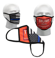 Red Keep America Great & Thin Blue Line Flag Reversible 2 Sided Face Mask