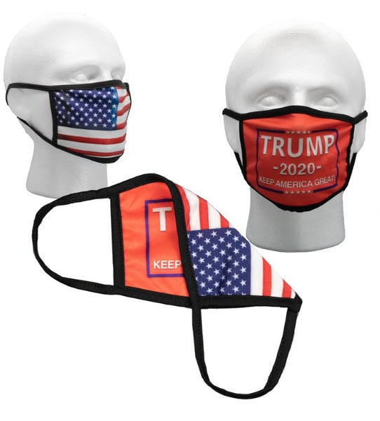 Red Trump Reversible Face Mask with American Flag on Back (2 Sided)