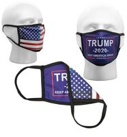Blue Trump Reversible Face Mask with American Flag on Back (2 Sided)