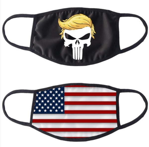 Donald Trump Punisher Cotton Face Mask Cover with USA Flag on Backside