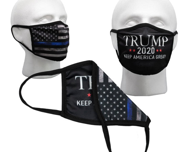 Black Trump 2020 Front and  Tattered Thin Blue Line Flag Back