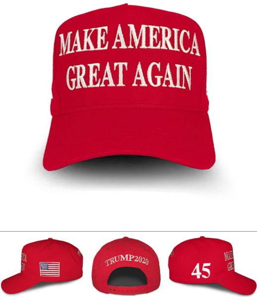 The Official Red Make America Great Again Hat with 45 on side Trump Wears