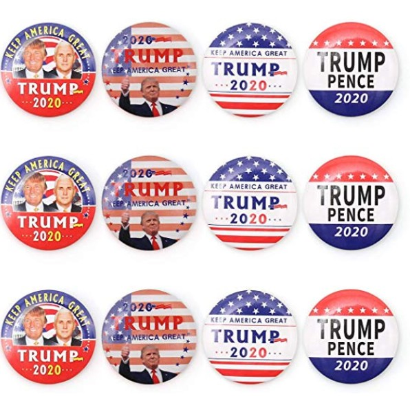 12 Donald Trump 2020 Presidential Lapel Pins / Election 2020 Campaign Buttons.