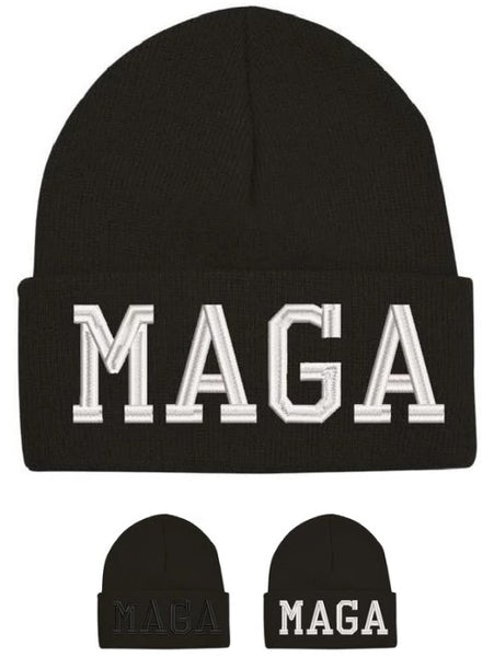 MAGA Winter Hat - Black or White Embroidery Donald Trump Winter Cap Wool Beanie