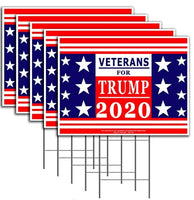 "Veterans for President Donald Trump - Keep America Great! - 2020 Political Campaign Rally Yard Sign (24""x18"") Included Metal Stake"