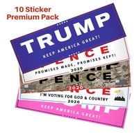 Trump 2020 Bumper Stickers - Variety Pack - CAMO, PINK, Keep America Great